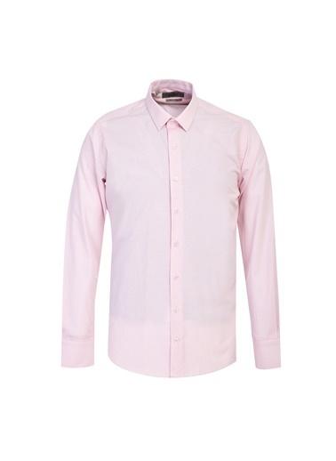 Kiğılı Uzun Kol Slim Fit Desenli Gömlek Pembe